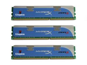 金士顿HyperX 6GB DDR3 1600(三通道套装/KHX1600C8D3K3)
